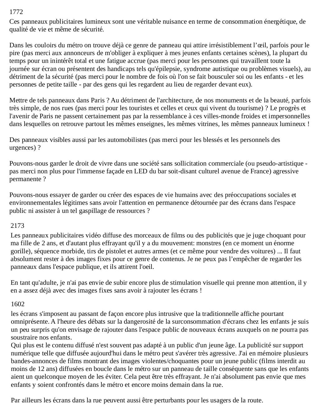 Rlp De Paris Analyse Des Contributions A La Concertation Resistance A L Agression Publicitaire